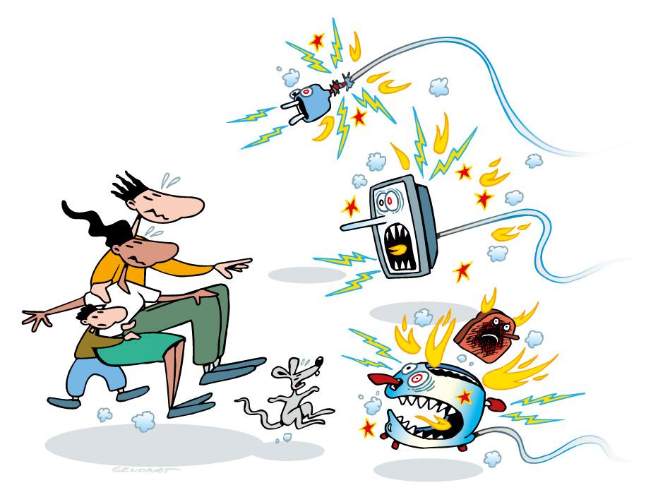 Danger potentiel des appareils et installations électriques