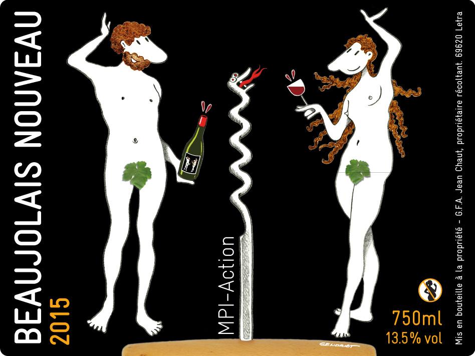 Étiquette de bouteille de Beaujolais Nouveau 2015